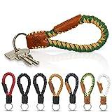 Tumatsch-Leder© Fair-Trade Schlüsselanhänger aus Echt-Leder in Handarbeit hergestellt. Geflochtenes Schlüsselband/Lanyard- Krabi, in vielen Farben, Unisex für Damen & Herren (Grün/Braun)
