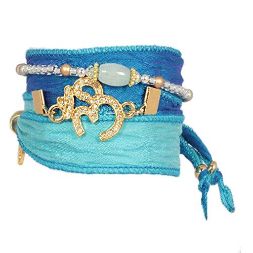 Anisch de la Cara Damen Wickel-Armband Set Crystal Om Aquamarin indischer Sari Seide Golden Blue, ia-set-g-blue-c-om (Sari Golden)