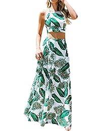 Kleid Damen REALIKE Frau Elegant Chiffon Bauchfrei Rückenfrei Ärmellosen Kleid  Schulterfreies Lange Kleid mit… 47bea9def4