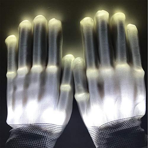 (LED Flashing Skeleton Handschuhe, Farbwechsel Neuheit Halloween Kostüm Party Konzert Prop Weißes Licht)