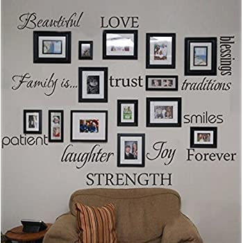 WONZOM Family Words Wall Decal Set Love Trust Blessing Smile Wall Sticker  Picture Wall Decal Room Art Decoration Part 29