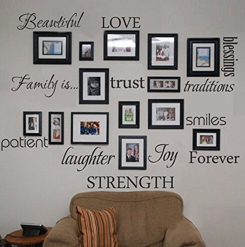 WONZOM Family Words Wall Decal Set Love Trust Blessing Smile Wall Sticker Picture Wall Decal Room...