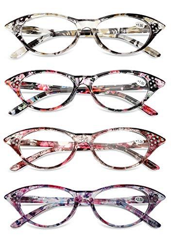 KOOSUFA Katzenaugen Lesebrille Damen Federscharnier Hornbrille Lesehilfe Sehhilfe Retro Designer Mode Vollrandbrille mit Brillentasche 1.0 1.5 2.0 2.5 3.0 3.5 4.0 (4 Farben Set, 2.0)