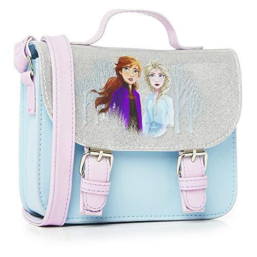 Disney Frozen 2 Die Eiskönigin Zubehör Handtasche Klein Für Mädchen mit Anna und ELSA, Mädchen Handtasche Blau, Kinder Umhängetasche Mädchen Glitzer, Mode Taschen, Geschenke Für Kinder