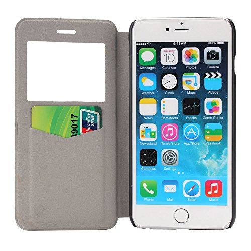 MOONCASE iPhone 6Plus Case Slim Window View Design Coque en Cuir Portefeuille Housse de Protection Étui à rabat Case pour Apple iPhone 6 / 6S Plus (5.5 inch) XB26 XB16 #1223