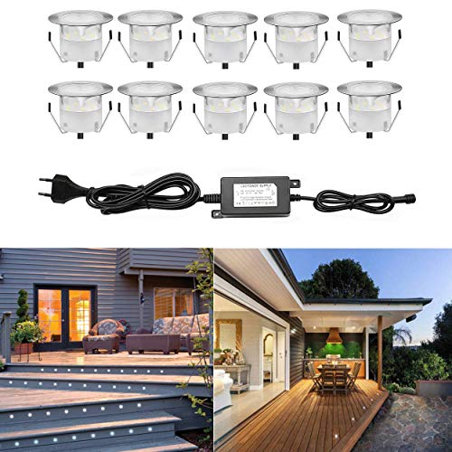 Spot LED Eclairage Extérieur Encastrable Sol Terrasse Bois,45mm Spots Encastré Extérieur Fait en IP67 DC12V 1W Avec Alimentation EU - Décor Pour Jardin Chemin Escalier Patio, Blanc Chaud(10 Kit)