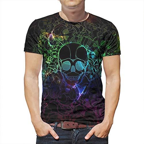 en 3D Druck Sommer Kurzarm Ärmel Schädel Grafik T Shirts Männer Strassenmode Casual Rundhals Top Tees White 2X-Large ()