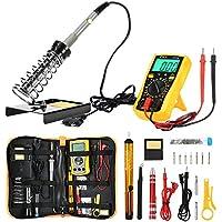 ZEEPIN Soldador eléctrico Kit profesional de estaño-16 en 1 Soldadura con maletín para free-60w Soldador 220v Temperatura ajustable para soldadura de precisión. (16 en 1)