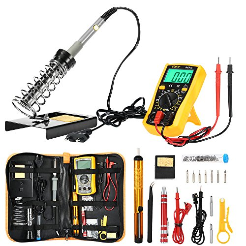 ZEEPIN Saldatore Elettrico Stagno Professionale Kit-16 in 1 di Saldatura con Valigetta per trasporto-60w 220v Saldatore Temperatura Regolabile per Precisione Saldatura.