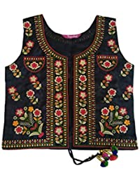 Trendish Women's Cotton Kutchi Multi Colored Embroidery Work Jacket (Black_Free Size)