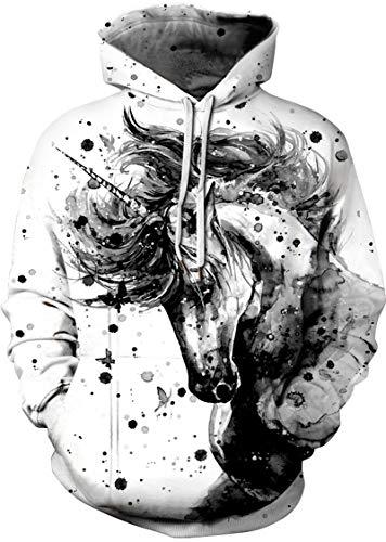 EUDOLAH Sweat-Shirt Femme Hiver Casual Sweats Se Sport 3D Motif avec Pochette(S/M,Cheval Gris-6)