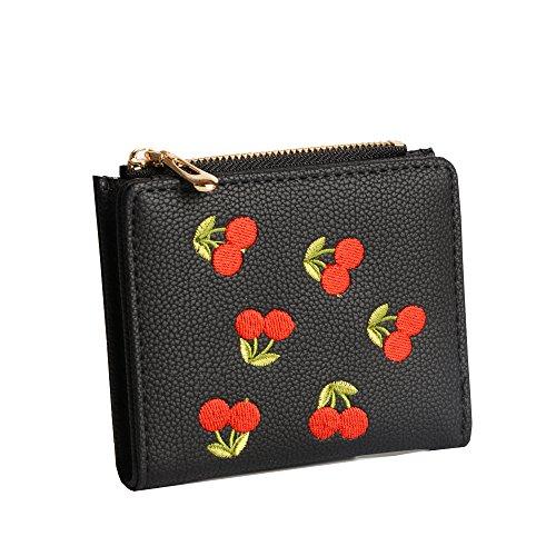 Nawoshow Frauen niedlich kleine Brieftasche Kirsche Muster Geldbörse Kartenhalter Handtasche (Schwarz) (Muster Geldbörse Niedliche)