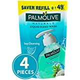 Palmolive Naturals Sea Minerals Liquid Hand Wash, 185ml Refill (Pack of 4), Remove 99.9% of Germs, Refreshing Fragrance