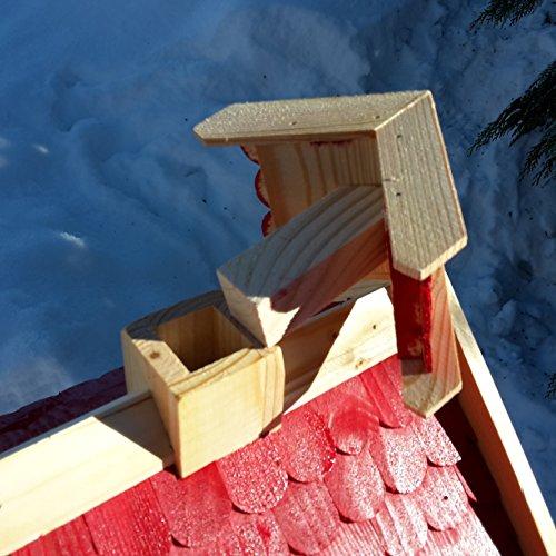 Vogelhaus-XL Rot- Vogelhäuser-Vogelfutterhaus Vogelhäuschen-aus Holz Wetterschutz Putzklappe - 5