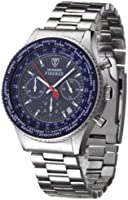 DETOMASO Firenze Men's Quartz Watch with Blue Dial Chronograph Display and Silver Stainless Steel Bracelet Sm1624C-Bl