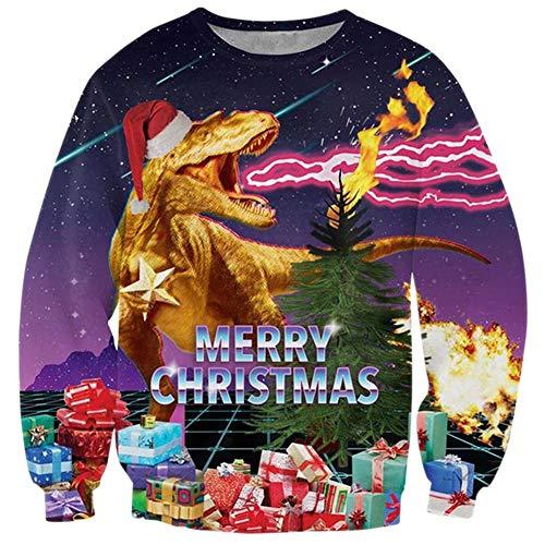 Loveternal Unisex Christmas Jumper Pärchen Pullover Weihnachten Cool Xmas Sweater Team Partnerlook Langarm 3D Entwurf Langarm T-Shirt XL (Weihnachten Pullover Für Männer)