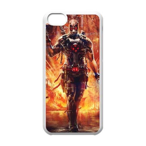 Deadpool coque iPhone 5C Housse Blanc téléphone portable couverture de cas coque EBDXJKNBO11990