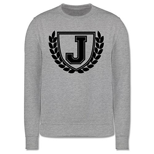 Anfangsbuchstaben - J Collegestyle - Herren Premium Pullover Grau Meliert