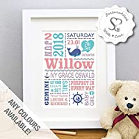 Personalised Cute Whale Nautical Seaside New Baby Gift, Birth Details, Christening, Boy, Girl, Newborn Stats, Childs Nursery Art, Picture Gift - FREE SHIPPING - Print or Framed Print