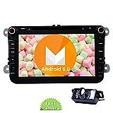 Camera Reverse Includere !! Quad-Core GPS autoradio Android 6.0 Marshmallow Doppio Din Autoradio sistema stereo da 8 pollici touchscreen capacitivo Headunit per Jetta Golf Passat EOS Supporto GPS Nav Specchio link 4G 3G Wifi Dual Camera Input OBD2