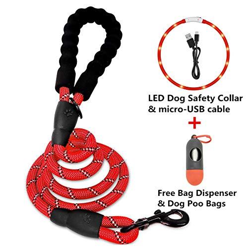 QUATILY Stabile Hundeleine, 152 cm lang, LED-Hunde-Sicherheitshalsband, inklusive Taschen-Spender und Hundekotbeutel, reflektierende Hundeleine für mittelgroße und große Hunde -