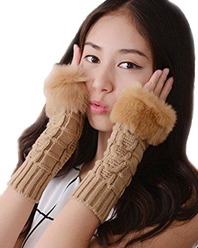 Minetom Donna Inverno Guanti Senza Dita Gloves Lana Intrecciato Scaldabraccia