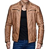 Red Bridge Men's Redbridge Faux Leather Biker Jacket With Quilted Areas M6037M6028M6013M6014 -  brown - XX-Large