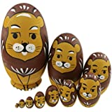 Cute Animal Theme Yellow And Brown Lion Egg Shape Wooden Handmade Nesting Dolls Matryoshka Dolls Set 10 Pieces For Kids Toy Birthday Christmas Gift Home Kids Room Decoration