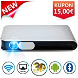 WOWOTO DLP Mini Projector 3D Full HD LED Projector 3200 Lumens Support 1080p Home Theater with Metal Shell Android 4.4 OS HDMI USB WiFi AirPlay Remote für Laptop Smartphone Tablet PC TV PS4 XBOX