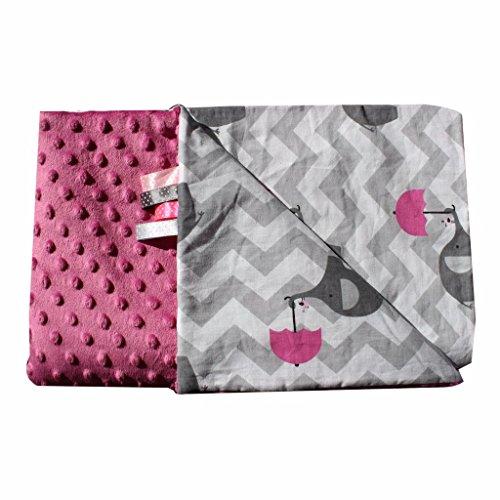 Pink Grau Elefanten Schirm 50x75cm Minky Babydecke Kuscheldecke Krabbeldecke Decke Super weich und flauschig Handarbeit (50x75cm, Pink Grau...