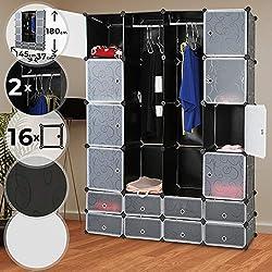 MIADOMODO Kleiderschrank - aus Kunststoff, 145/180/37 cm, 2 Offene und 16 Geschlossene Fächer, mit 2 Kleiderstangen, Schwarz mit Muster oder Weiß - Modularer Schrank, Garderobenschrank, Regalsystem