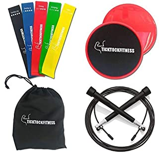 Resistance Loop Bands - with core sliders & speed skipping rope Whole body exercise kit, core workout for women & men, strength training, home gym, pilates, yoga or rehab (Bands Bundle)
