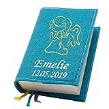 Evangelische Gesangbuchhülle Gesangbuch Engel Tattoo gold Filz mit Namen bestickt mittlere Ausgabe, Farbe:türkis