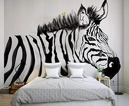 Tapeten Fototapete 3D Effekt Wohnzimmer Schlafzimmer Tv Hintergrund -400cm×280cm(bxh) Gezeichnetes Schwarzweiss-Zebra Der Weinlese Hand Wandtapete Wand Dekoration (Zebra-zimmer-dekorationen)