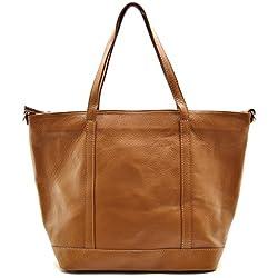 OH MY BAG Sac à Main cabas femme en cuir italien porté main, épaule et bandoulière Modèle Irupu cognac foncé Soldes