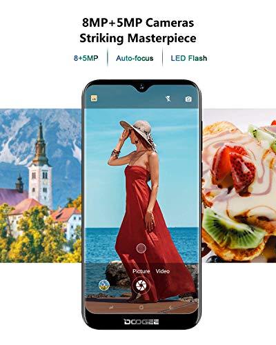 Télephone Portable débloqué Pas Cher 4G, DOOGEE Y8 2019 Smartphone Android 9,0 Mobile 6,1Pouces 19.9 HD+ Goutte d'eau, 3Go+16Go MT6739 Dual ... 6