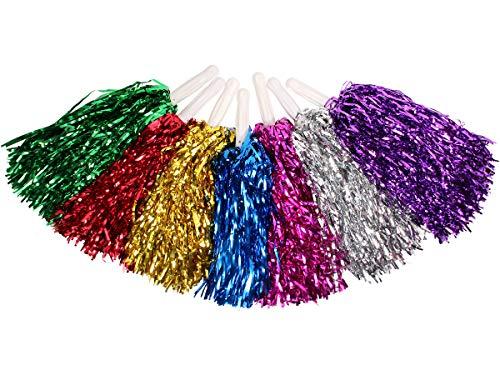 Alsino 1 Paar Metallic Schimmer Pompom Cheerleader, Farbe wählen:rot