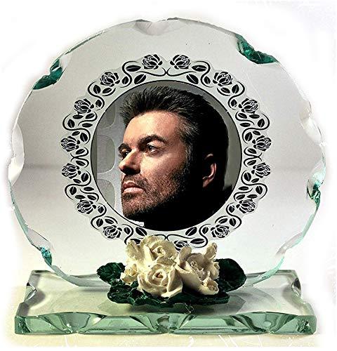 GEORGE MICHAEL Farbe Foto Schnitt Glas rund Rahmen Plaque besonderen Anlass Limited Edition. Pop Legend.