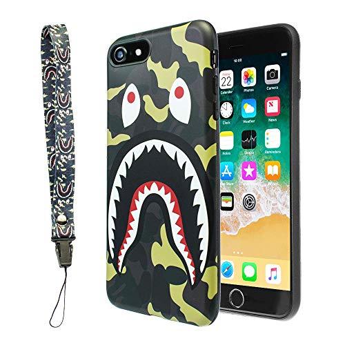 iPhone 7/8Shark Face Fall Street Fashion Flexible Stabiler Designer TPU Schutzhülle/Bumper/Skin/Kissen mit Handschlaufe (kompatibel mit 11,9cm iPhone 7& 8nur), grün - Industrie-designer