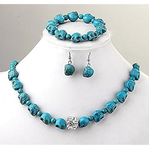 Ecloud Shop® Turquesa de la piedra preciosa del Rhinestone de la pulsera del collar + + pendientes del cráneo Azul