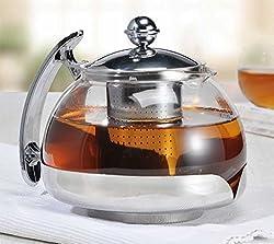 Edelstahl Teekanne 1,2 Liter mit Teesieb Glas Glasteekanne Kanne Tee
