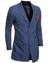 59e7041e12629e D&R Fashion Uomo Cappotto Invernale Elegante Cachemire Lana 3/4 Lunghezza  Giacca Soprabito