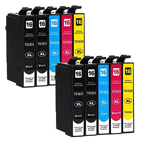 10 Druckerpatronen kompatibel zu Epson 16-XL / T1626 / T1636 (4x Schwarz, 2x Cyan, 2x Magenta, 2x...