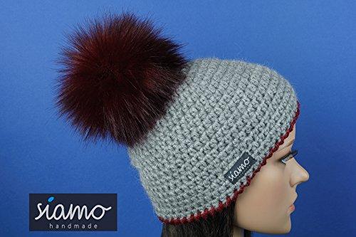 Luxus pur Mütze LIMA 100 % Baby-Alpaka hellgrau - weinrot (Manschette Garn)