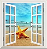 GAOJIAN Mittelmeer-Stil Wandaufkleber Wohnzimmer Schlafzimmer Wandaufkleber Non-Woven Stoff falsche Fenster TV Wand Hintergrund Wand Aufkleber hoch 60cm x Breite 55cm