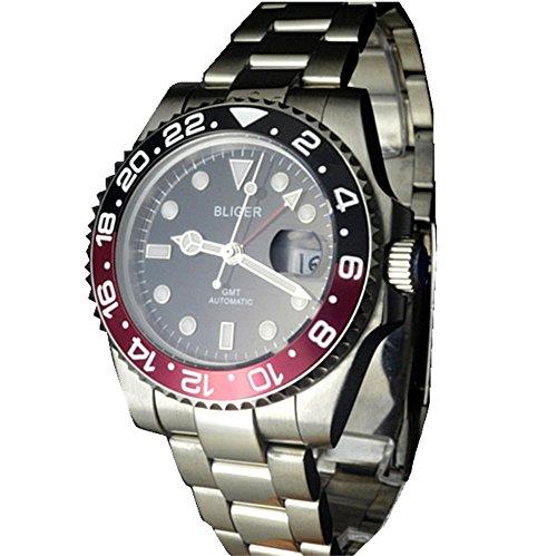bliger 40mm GMT Style Rot und Schwarz Keramik Lünette Schwarz Zifferblatt Automatik Uhr