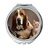 Yanteng Spiegel, runder Spiegel, lustiger Doge Husky Hund, Taschenspiegel, 1 X 2X Vergrößerung