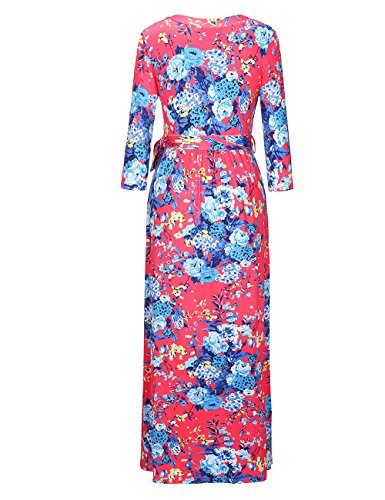 Ruiyige vestito casual da donna vestito quotidiano abito lungo stampa floreale lunghezza pavimento Rosso