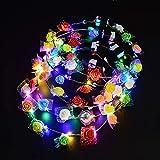 QIANGUANG LED Luces parpadeantes guirnalda de flores diadema corona floral tocado flor guirnalda del pelo con decoración para mujer de las señoras muchacha moda fiesta de la boda playa (8PCS)