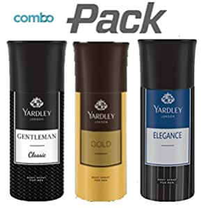 Yardley London Gentleman Classic Deo with Gold Body Spray and Elegance Deo for Men (Combo Pack)